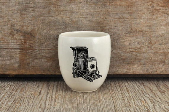 Porcelain coffee tumbler with vintage camera drawing by Cindy Labrecque