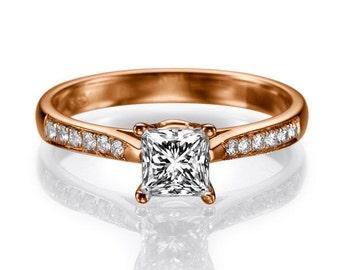 Princess Cut Diamond Engagement Ring Rose Gold Cathedral