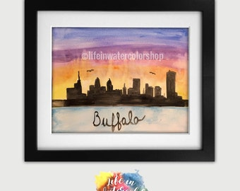 Buffalo Skyline Watercolor