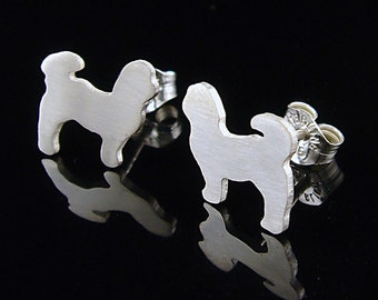 Shih Tzu Sterling Silhouette Earrings V2