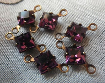 Amethyst Purple Vintage Swarovski Square 4x4mm Glass Drops 6 Pcs