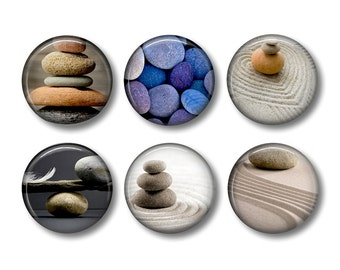 Zen Stones pinback button badges or fridge magnets, fridge magnet set