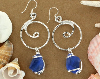 Cobalt Sea Glass Spiral Earring