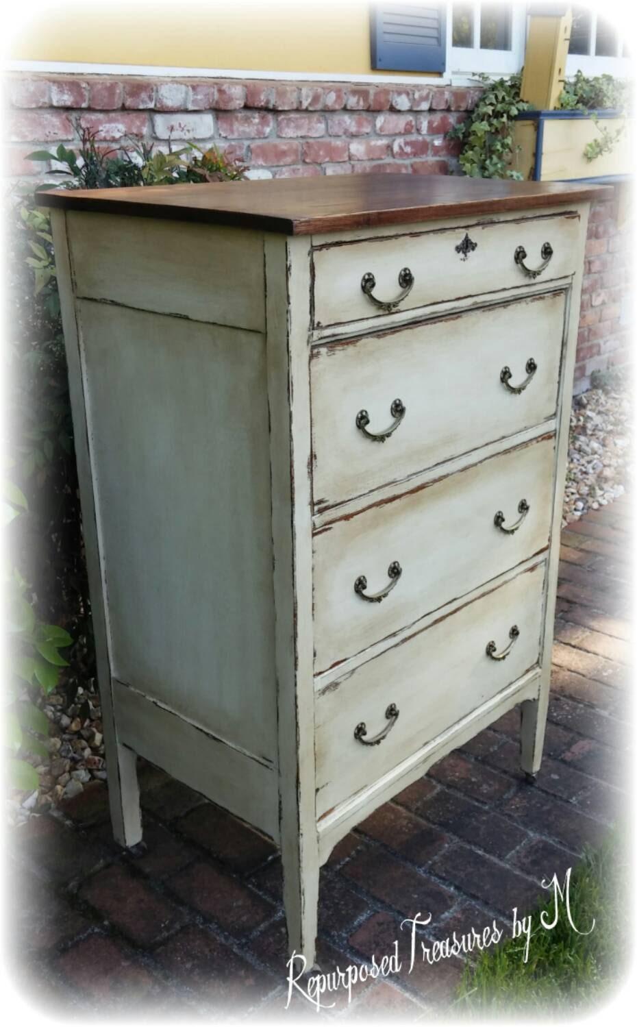 🔎zoom - SOLD SOLD Distressed Antique Dresser Shabby Chic Dresser
