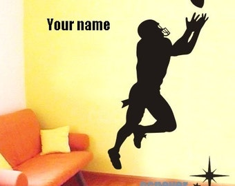 50% BIG SALE  40by22 inches FOOTBALL player Personalized Name----Removable Graphic Art wall decals stickers home decor