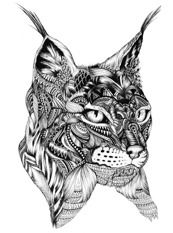 Abstract lynx print animal art pen artwork designs