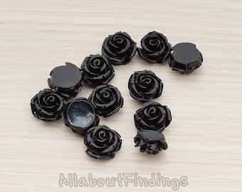 CBC141-01-BL // Black Colored Curved Petal Rose Flower Flat Back Cabochon, 6 Pc