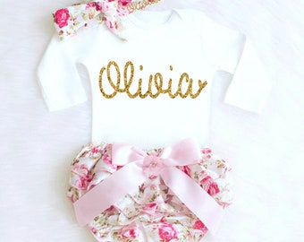 Baby Girl Coming Home Outfit Baby Girl Clothes Personalized Newborn Girl Outfit Spring Bloomers Personalized Baby Gift Baby Girl Outfit