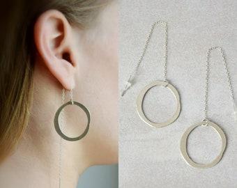Threaders earrings, Chain earrings, Circle earrings, Long chain earrings, Silver chain earrings, Dangle hoops, Dangle silver earrings