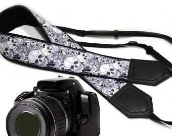 Black and white Halloween camera strap. Sugar skulls camera strap. DSLR / SLR Camera Strap. Camera accessories by InTePro