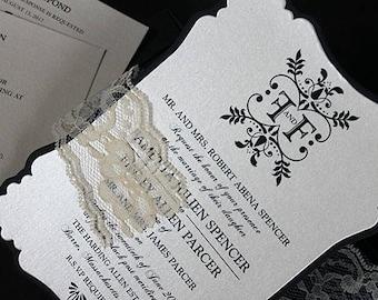 Lace Wedding Invitation   Wedding Invite   Victorian Invitation, Wedding Invitation, Bridal Shower Invitation, Romantic Wedding Invitation,