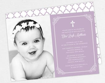 Photo Baptism Invitation, Christening Invitation, Girl Baptism Invite, Printable Baptism, PDF, DIY, Printed, Classic, Modern, Purple, Elise