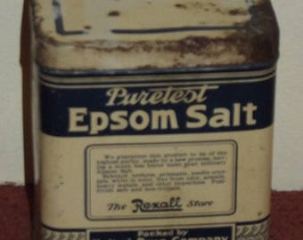 Vintage Puretest Epsom Salt tin can from The Rexall Store