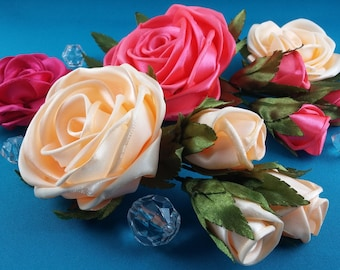 One ribbon rose with three buds on one halrclip or headband
