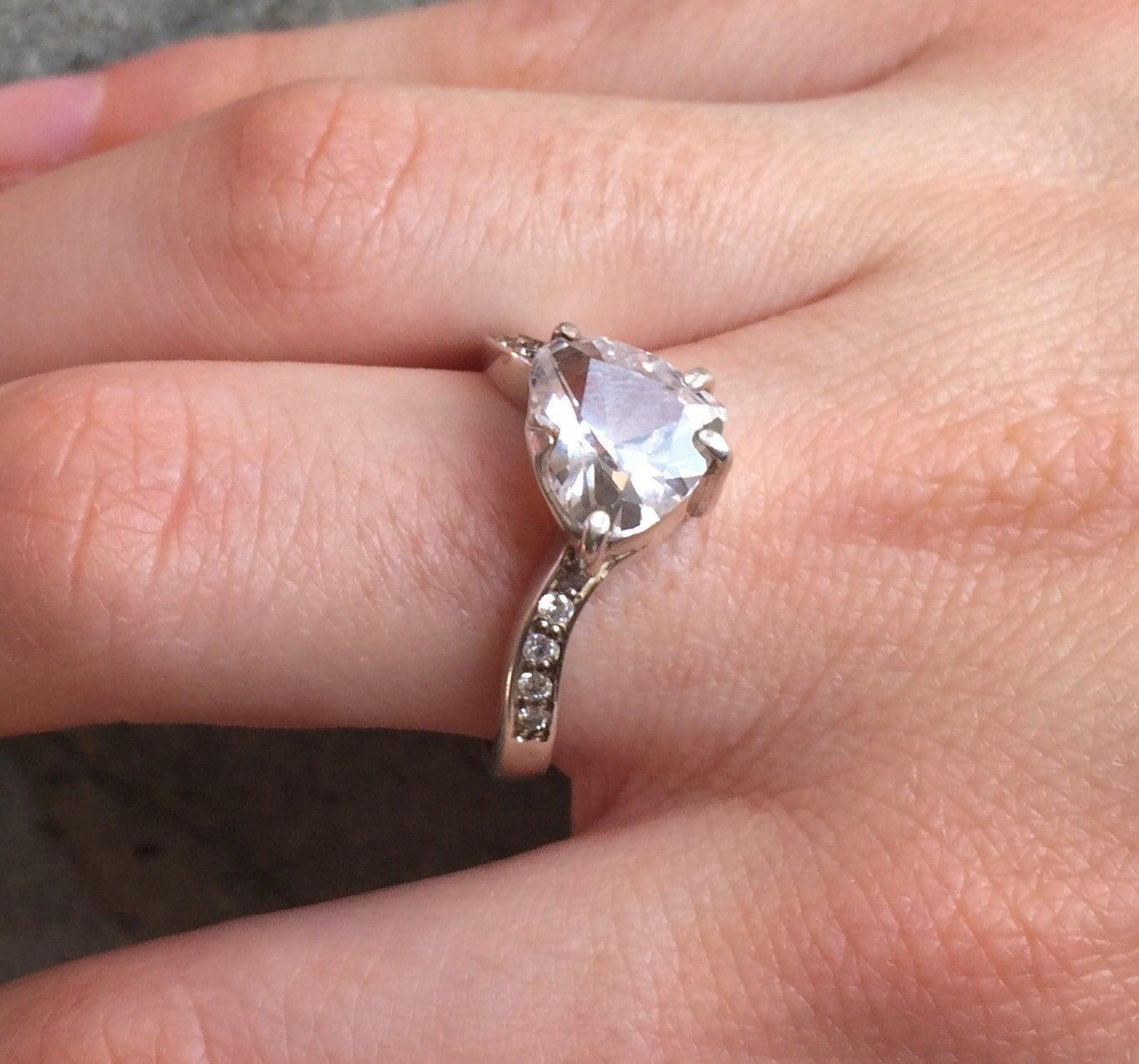 Heart Diamond Ring Heart Engagement Ring Natural Topaz