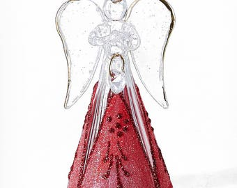 Modern Glass Angel with Red Skirt