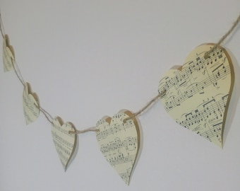 Music Paper Bunting | Small Heart Bunting l Vintage Garland | Music Theme Decor l Housewarming | Party Decoration l Shabby Chic l Romantic