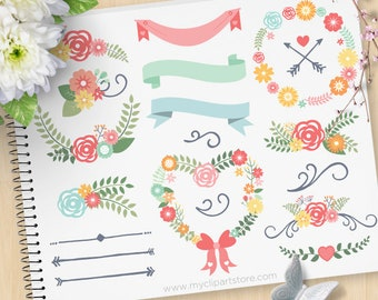 Spring Wedding Clipart, Floral Wreaths and Laurels, Mother's Day Flowers, Spring, Blossoms, Commercial Use, Vector clip art, SVG Cut Files