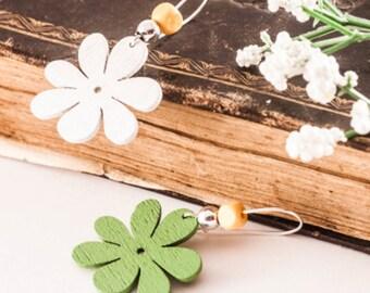 Wood Flower Earrings - Dangle Flower Earrings - Spring Earrings - Summer Earrings - Gift For Woman - Green and White Earrings - Floral, Gift