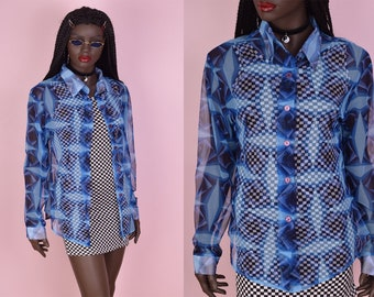 90s Blue Printed Mesh Top/ Large/ 1990s/ Long Sleeve/ Button Down
