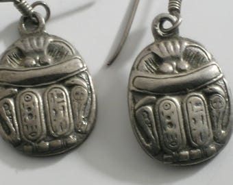 Egyptian Revival Sterling Silver Scarab Beetle Earrings #0273