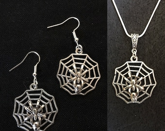 Spiderweb, arachnid, skull, silver, earring and necklace set.