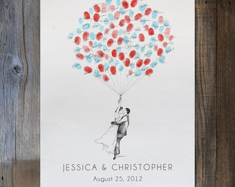 Wedding Guest Book Alternative, Custom Couple Drawing, Thumbprint Balloon, like Fingerprint tree, Whimsical Wedding Decor,Bridal Shower Gift