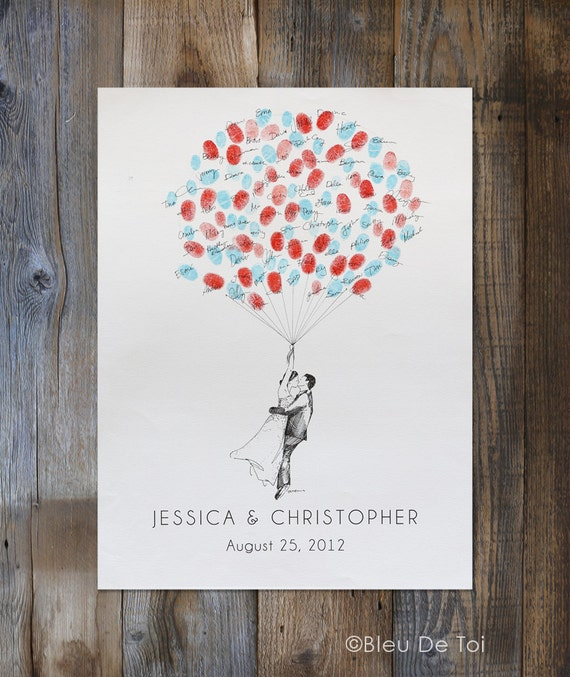 Personalized Thumbprint Tree Wedding Guest Book Alternative: Wedding Guest Book Alternative Custom Couple Drawing