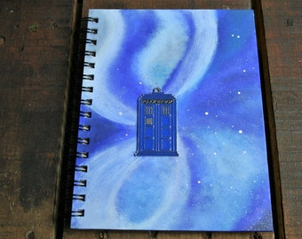 Tardis BLANK A5 Hand Painted Hardback Notebook/ Sketch Book/ Journal / Guest Book Ispired by Doctor Who