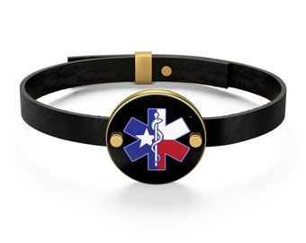 Texas Flag Star Of Life Logo Leather Bracelet Ems Emergency Medical First Responder Ambulance