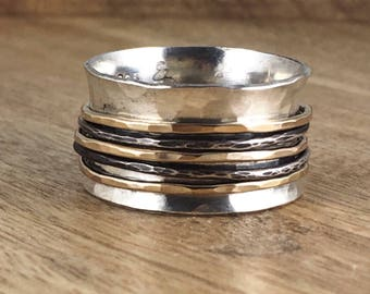 Sterling Silver and Gold Spinner Ring - Mixed Metal - Black Silver - Black and Gold - Fiddle Ring - Worry Ring - Silver Band Ring