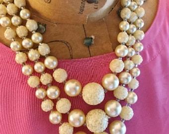 Multi Strand Pearl Necklace, 3 Strand Pearl Necklace, Mad Men Pearl Necklace, Triple Strand Necklace