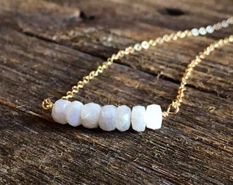 Gold Filled and White Sapphire Minimalist Necklace / Simple Gemstone Necklace / Tiny Gemstone Jewelry