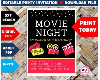 Movie Night Editable Invitation, 5x7 designs, edit with adobe reader, red movie night, slumber party, other colors available, diy