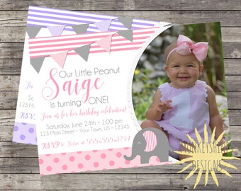 Our Little Peanut Birthday Invitation of Girls - Elephant - Select Your Color