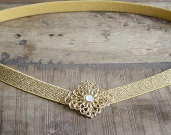 Gold wedding belt, bridal gold belt, wedding dress belt, elastic gold belt, vintage wedding belt, bridal stretch belt, gold belt