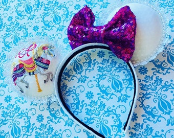 Embroidered Carousel Horse Mouse Ears Headband