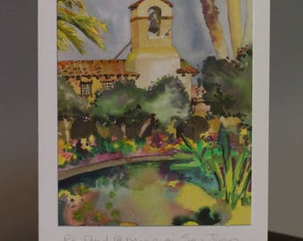 """Lily Pond at Mission San Juan Capistrano 5x7"""" Fine Art Card signed by Artist"""
