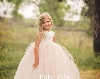 Flower Girl Dresses, Tulle Flower Girl Dress Blush, Blush Tutu Dress