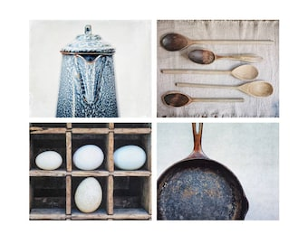 Farmhouse Kitchen Decor, Fine Art Photography, Blue Wall Art, Fixer Upper Style, Rustic Wall Decor |  Coffee & Eggs  Set