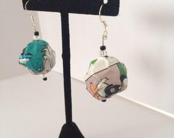Comic Earring; Comic Jewelry; Bead Earring; Bead Jewelry; Upcycled Jewelry; Bead Dangle Earring