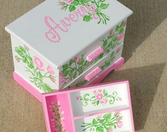 Personalized Child's Jewelry Box Wood Box Girls Pink Green Nursery Decor Castle