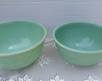 Vintage Anchor Hocking Fire King Jadeite Ovenware Mixing Bowls
