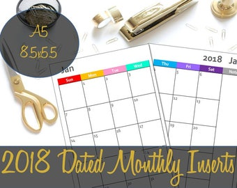2018 Dated Month on 2 Pages, Monthly A5 Inserts, Filofax Inserts, Recollections Inserts, Printable Inserts, Webster's Inserts, ARC Inserts