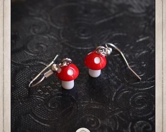 MUSHROOM earrings silver and resin BOA051