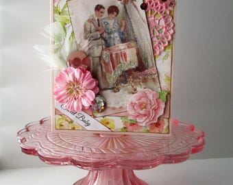 Handmade Card New Baby girl - Welcome Baby Card - Vintage-style Baby Girl Card - Victorian