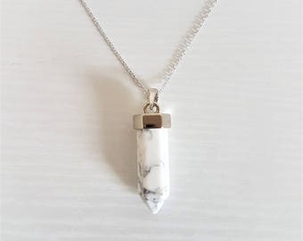 Healing Stone Necklace in 16k Silver/Marble