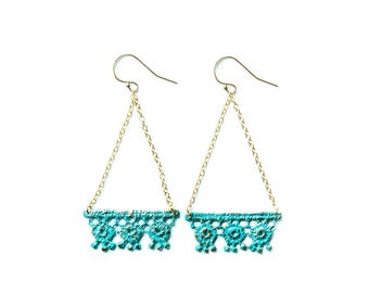 Trianglular geometric cast Lace Earrings in blue bronze on 14k gold filled chains