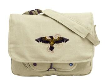 Clockwork Raven Embroidered Canvas Messenger Bag