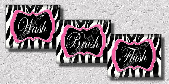Pink zebra print wall art bathroom decor print wash brush flush 8x10 unframed photo prints bath rules black and white home pictures words